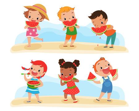 frutas divertidas: Ilustraci�n de ni�os felices disfrutan comiendo sand�a
