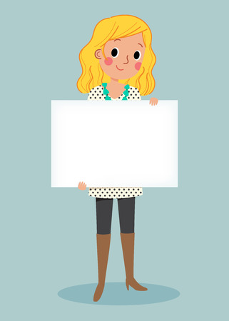 happy business woman: illustration of smiling young girl holding white blank sign
