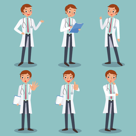 health professionals: set of male doctor character in different actions