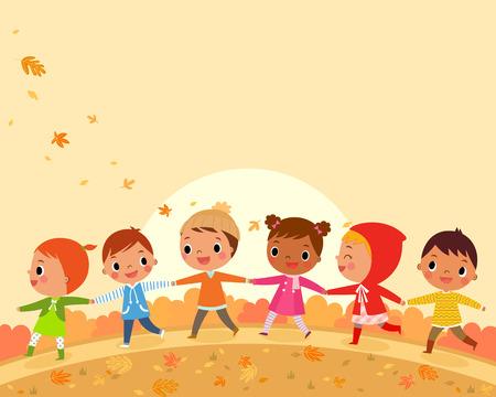 illustration of children walk on a beautiful autumn day