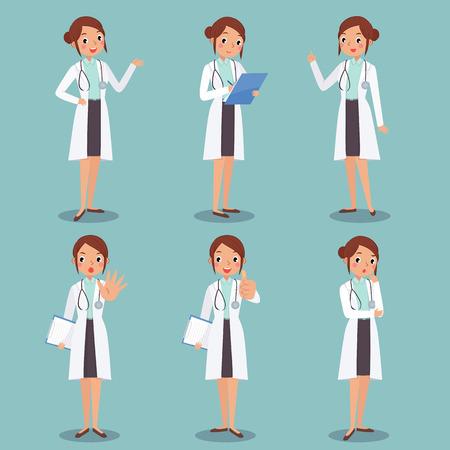 afbeelding instellen van schattige vrouwelijke arts personage in verschillende acties