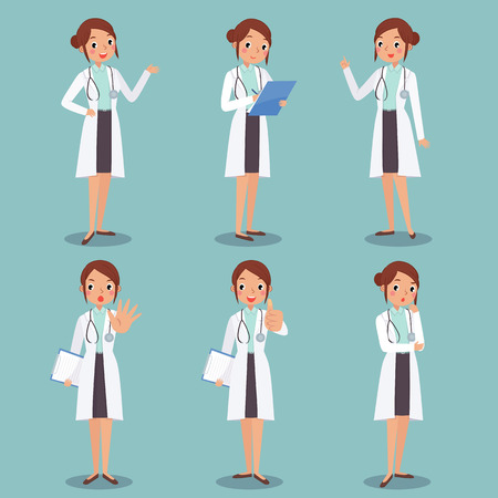 illustration set of cute female doctor character in different actions Illustration