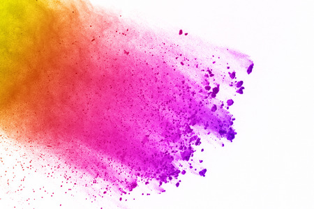 Colorful of powder explosion on white background. Colored dust explode on isolate background. Paint Holi. Colorful cloud splash.