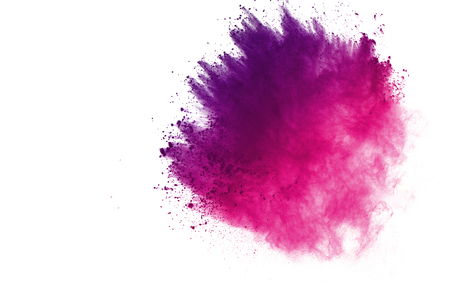 Abstract of colored powder explosion on white background. Multicolor powder splatted isolate. Colorful cloud. Colored dust explode. Paint Holi. Stock Photo