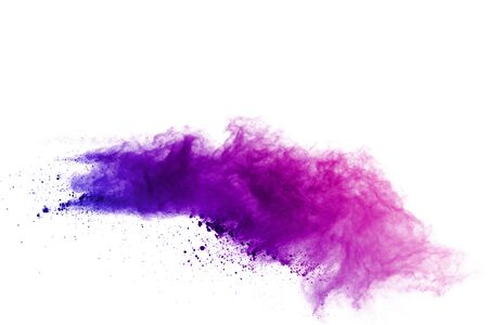Explosion of colored powder on white background. Banque d'images