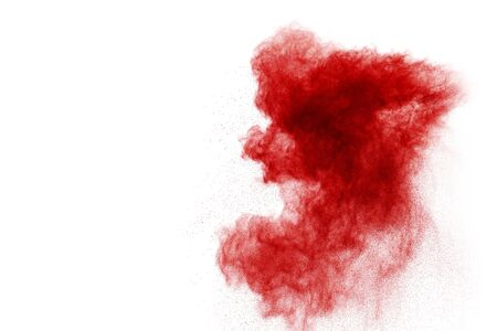red powder explosion isolated on white background Banque d'images