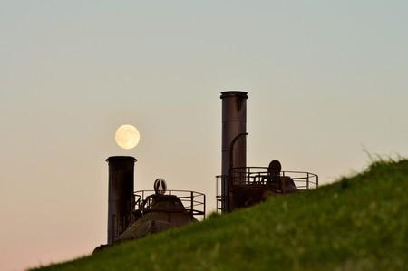 Volle Maan van Chimney Stockfoto
