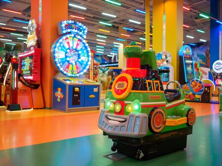 Little train in the playroom for children.