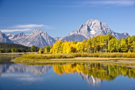 Autumn Reflections at Oxbow Bend in Grand Teton National Park Stock Photo