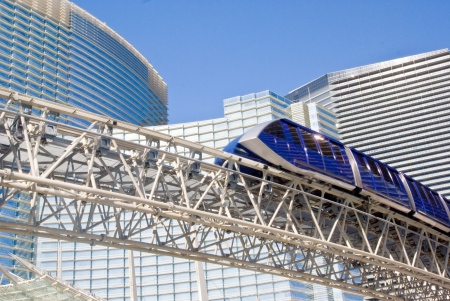 Monorail tram glides past Aria Hotel complex at CityCenter, Las Vegas, Nevada
