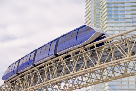 A monorail train passes the entryway to Aria Hotel at the new CityCenter complex in Las Vegas, Nevada Stock Photo - 14834367
