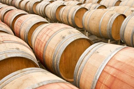 Oak barrels at a California winery Stock Photo