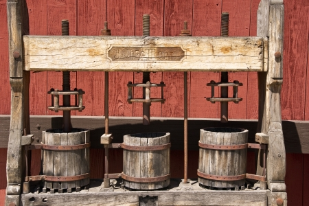 3 vintage wine presses at a Paso Robles, California winery