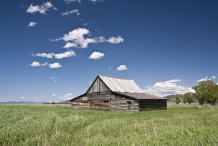 Scenic old barn in Grand teton National Park at Jackson Hole, Wyoing