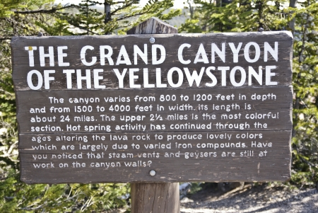 Sign in Yellowstone National Park describing the Grand Canyon of the Yellowstone River