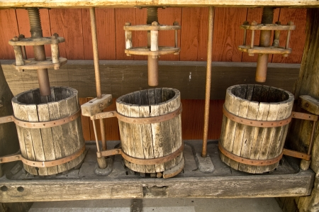 Old fasioned wooden wine presses at a California vineyard