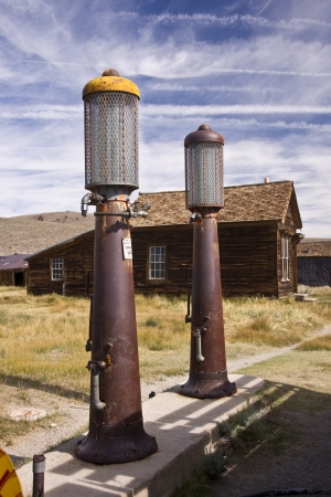 Vintage gas pumps at the desolate Bodie ghost town in old California Editorial