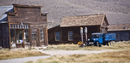 goldrush: Historic main street buildings in an old west goldrush ghost town of Bodie, California