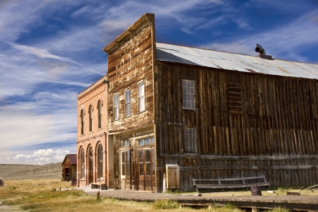 Historic main street buildings in an old west goldrush ghost town of Bodie, California
