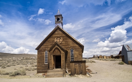 western state: Authentic frontier church at the restored Eastern Sierra ghost town of Bodie, California Stock Photo