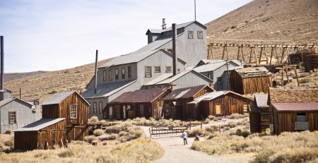 The historic gold mill in the western gold mining ghost town town of Bodie California