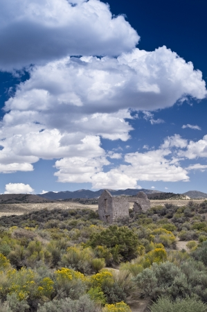 old mining building: The ruins of a high desert gold mining town in remote Nevada