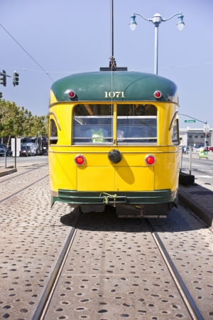 View from behind an historic San Francisco street car serving the Embarcadero and Fisherman