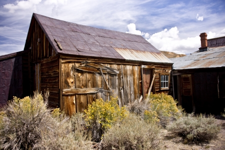 Rustic abandoned buildings in an old west ghost town