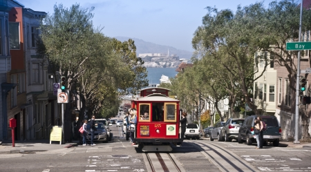trolly: San Francisco Cable car Editorial