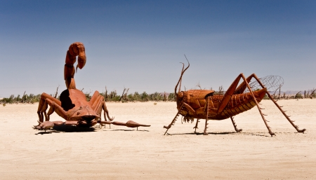 the fittest: Borrego Springs, California - June 25, 2012  Artist Ricardo A  Breceda has added a scropian and grasshopper to the collection of metal sculptures on permanent display at Galetta Meadows
