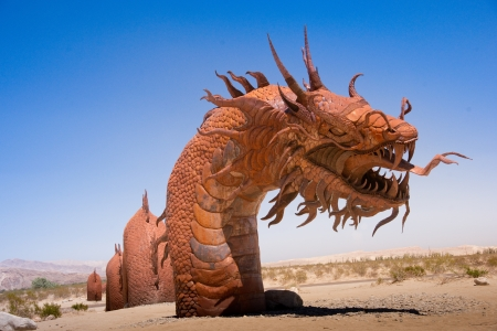 Borrego Springs, California, USA, June 25, 2012  Artist Ricardo A  Breceda has added a 350-foot long Serpent sculpture to the collection of prehistoric animals on permanent display at Galetta Meadows