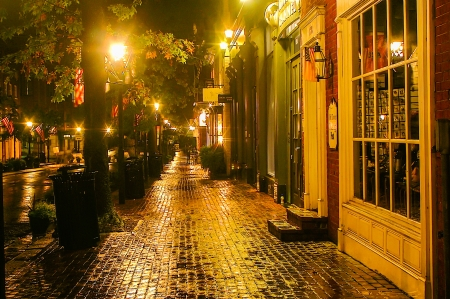 virginia: Alexandria, Virginia, USA - September 30  A moody street scene on a rainy night in Old Town Alexandria, Virginia on Sept  30, 2006