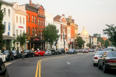 Washington, DC - June 17  Street scene at the intersection of Wisconsin Avenue and M Street in Georgetown in Washington, DC on a late summer afternoon on June 17, 2006   Stock Photo - 19108184