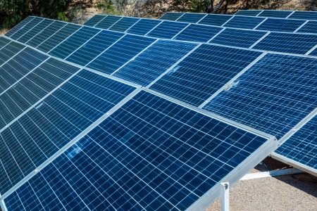 biosphere: An array of solar panels producing electricity at the Biosphere 2 research facility  Stock Photo