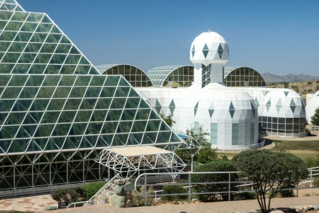 the biosphere: Ultramodern architecture at Biosphere 2 where scientists study the potential for space colonization inside a sealed environment  Editorial