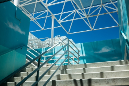Stairway at the Biosphere 2 facility used to study the prospects for space colonization