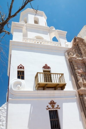 Bell tower and balcony of the Spanish colonial mission San Xavier Stock Photo