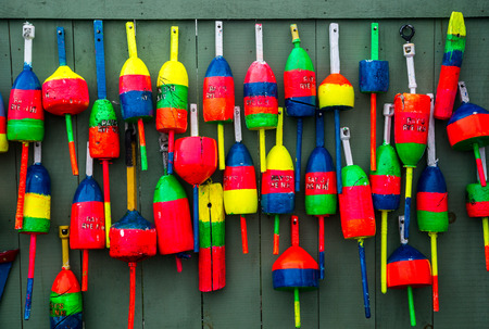 buoys: Colorful lobster buoys in Maine