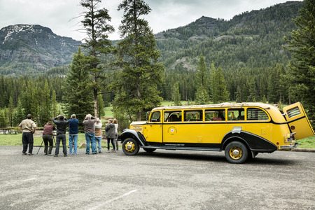mountain goats: Yellowstone National Park - May 31, 2015: Early season visitors watch for Mountain Goats as they tour the park on an old historic yellow bus. Editorial