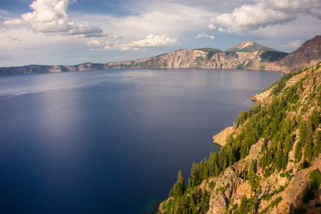 crater lake: Vista of the cobalt blue water of Crater Lake. Stock Photo
