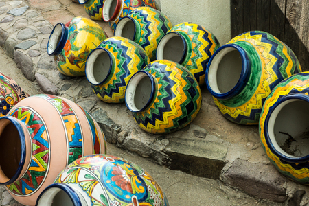 Traditional glazed Mexican talavera style pottery