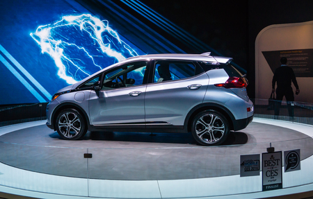 chevy: Las Vegas, NV -  Jan. 9, 2016: Chevrolet garners a best of show award at the 2016 Consumer Electronis Show CES in Las Vegas with its new Chevy Bolt electric car boasting 200-mile range.