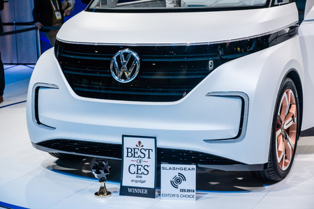 introduces: Las Vegas, NV, -  Jan. 9, 2016: Volkswagon introduces its new BUDD-e, fast-charging electric van at the 2016 Consumer Electronics Show CES to high aclaim.