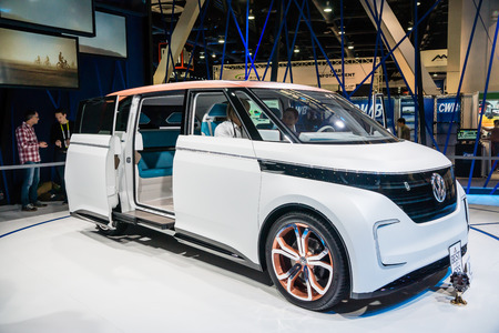 Las Vegas, NV, -  Jan. 9, 2016: Volkswagen introduces its new BUDD-e, fast-charging electric van at the 2016 Consumer Electronics Show CES to high aclaim.