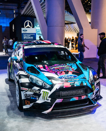 Las Vegas, NV -  Jan. 9, 2016: A ew Ford Fiesta custome Hoonigan rally racer is displayed at the 2016 CES exhibition in Las Vegas.
