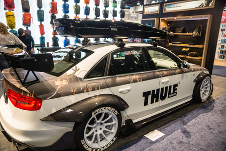 Las Vegas, NV - Jan. 9, 2016: Swedish company Thule displays a dressed-up car equipped with the latest storage gear at the 2016 CES trade show in Las Vegas.