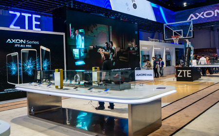 exhibition: Las Vegas, NV - Jan. 9, 2016:  ZTE Corporation promotes its Axon series at a trade show exhibit at the 2016 Consumer Electronics Show CES.