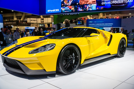 new motor car: Las Vegas, NV -  Jan. 9, 2016:  Ford Motor Company displays the new GT-600 hp supercar at the 2016 2016 Consumer Electronics Show CES. Editorial
