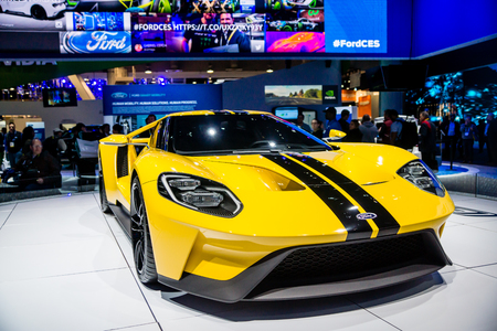 Las Vegas, NV - Jan. 9, 2016:  Ford Motor Company displays the new GT-600 hp supercar at the 2016 2016 Consumer Electronics Show CES. Editorial