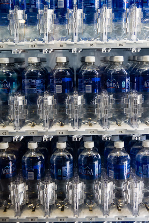 Las Vegas, NV -  Jan. 8, 2016:  Drinking water in a state-of-the-art vending machine is an essential ingredient at the worlds largest trade show - the 2016 Consumer Electronics Show CES in Las Vegas.